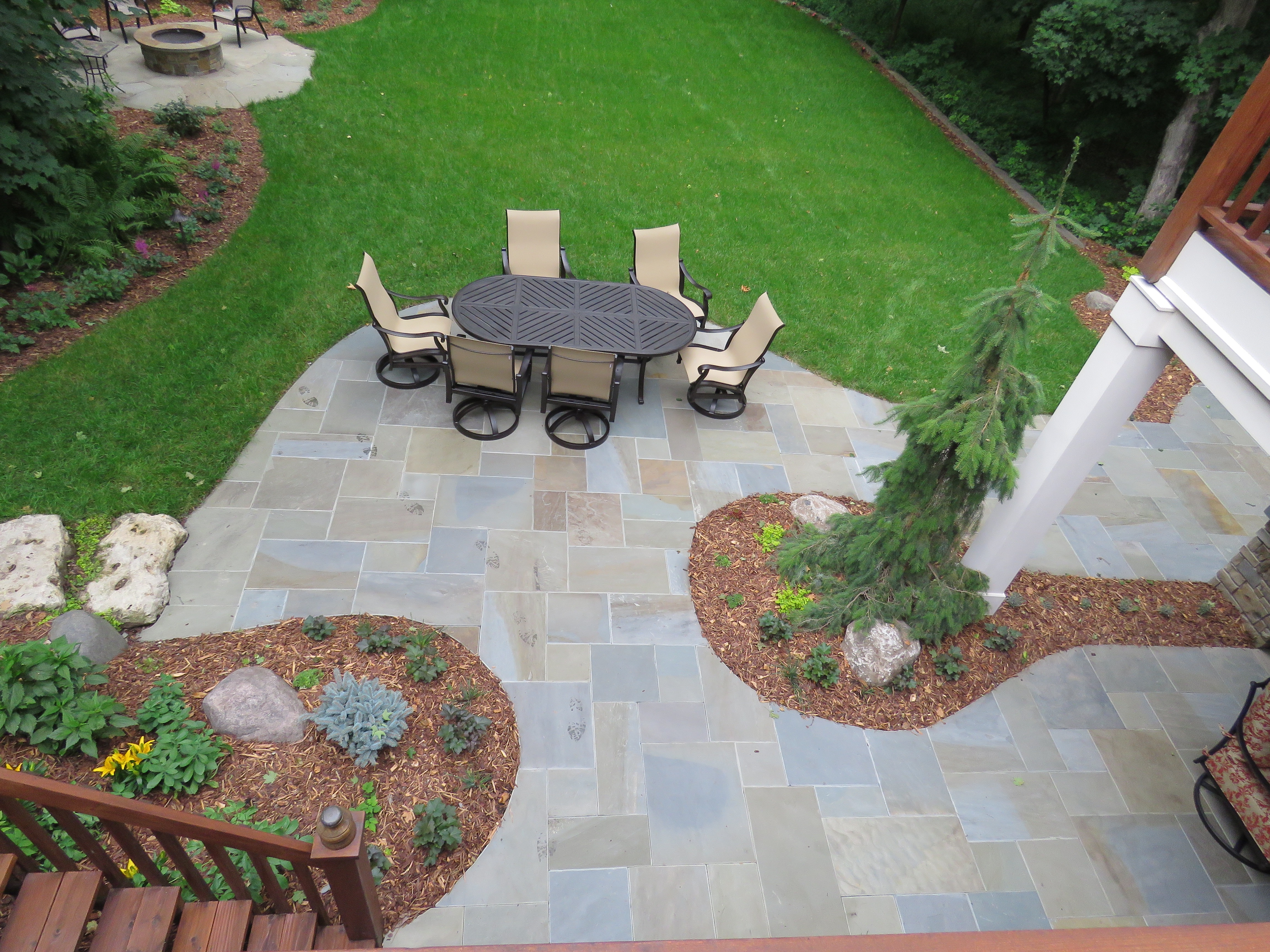 Bluestone patio viewed from deck