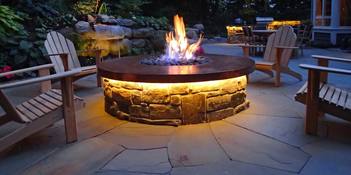 Fire-pit outdoor lighting