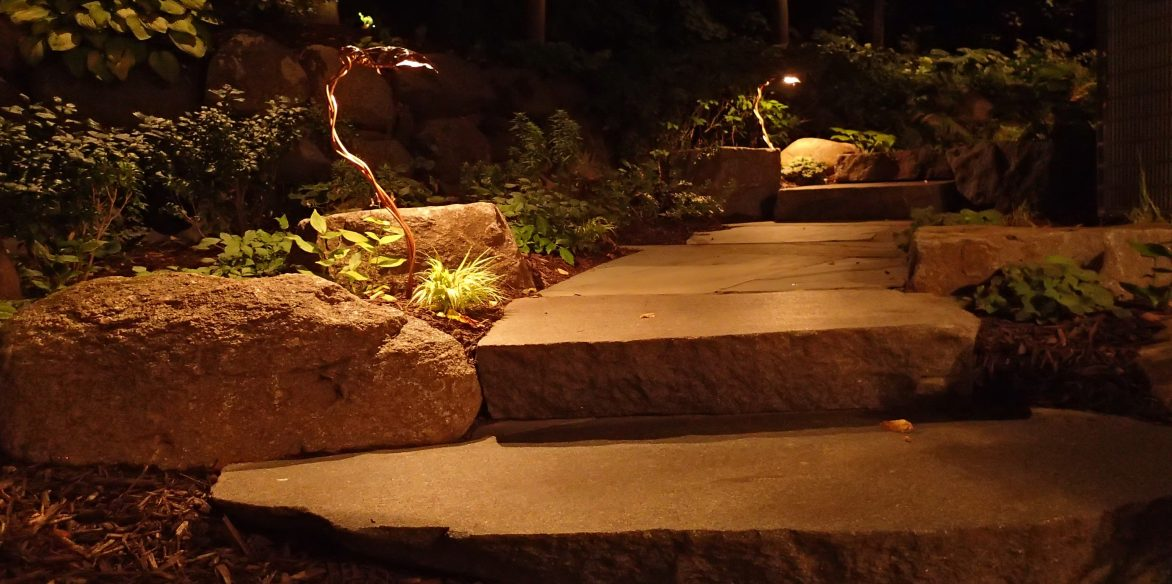 Stone steps copper outdoor light