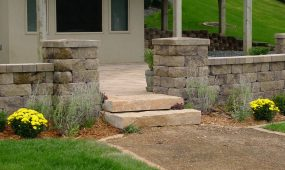 Modular block wall and pillars and stone steps