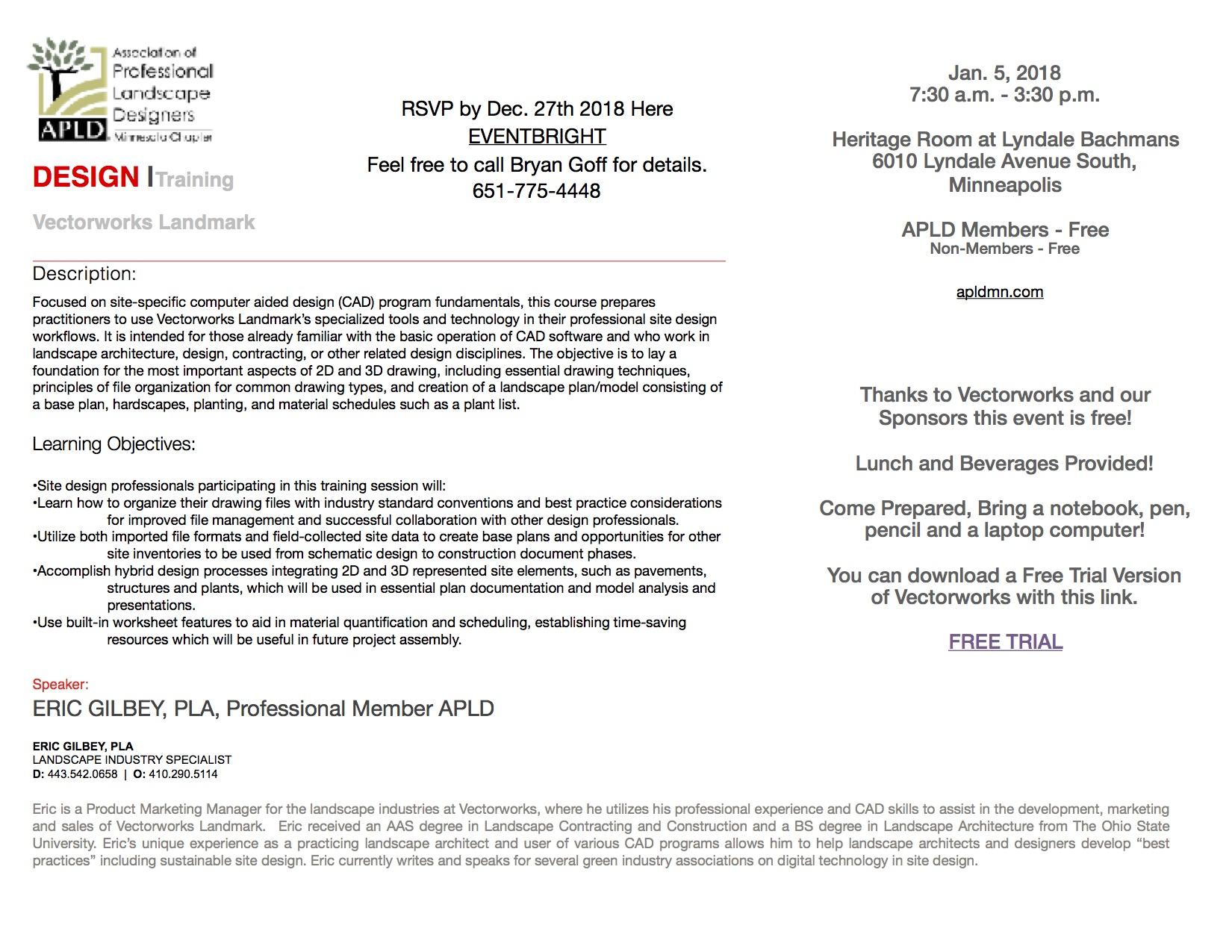 APLD Minnesota Chapter Vectorworks Landmark Training